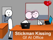 Stickman Kissing Gf at Office